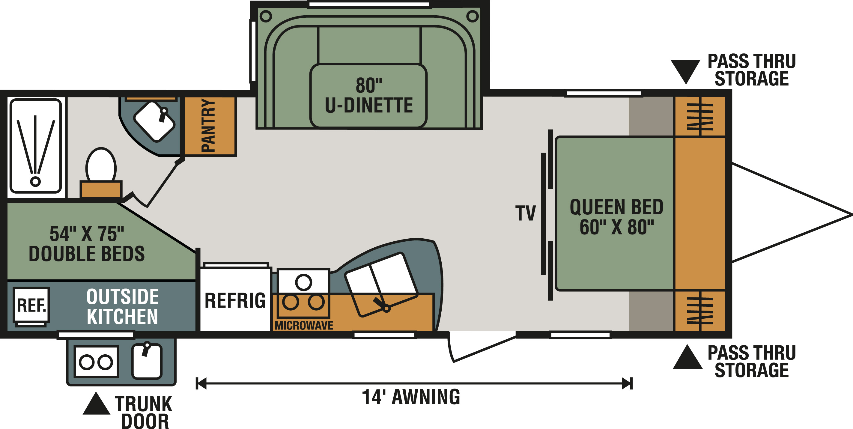 Travel Trailer With No Kitchen Or Beds Floor Plan